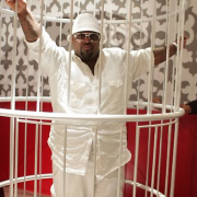 TRIO decked out CeeLo Green's lounge area - with painted bird cages, custom wall paper, CNC-routed wainscot - The Voice, Season 3