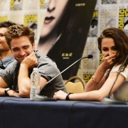The stars of Twilight in front of TRIO printed press wall
