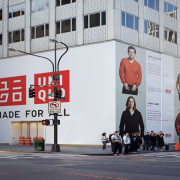 TRIO printed construction barricade at UNIQLO NY on 5thAve