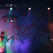 TRIO hand-painted backdrop on tour with Steve Vai