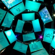 "The dome of ""animation cells"" overhead in the Epic Mickey area"