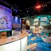 Disney's 'Where's my Water?' lounge at E3 overlooking the Epic Mickey 2 display