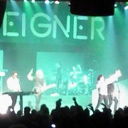 TRIO printed backdrop on stage with Foreigner