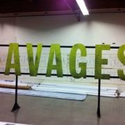 TRIO routed and mounted letters for the Savages premiere after-party in progress